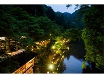 夏の川床・夕景