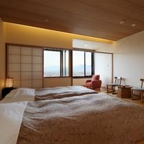 【展望風呂付ツイン】最上階!松本平の夜景一望②