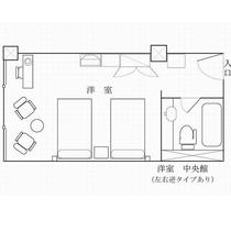 【デラックスツイン】アルプスビュー27平米の広々間取り図