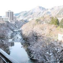 【冬の眺望例】山々や渓谷は雪化粧で美しく