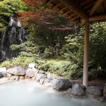 露天風呂からみる庭の滝