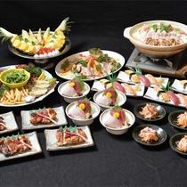 *宴会コース【お鍋一例】鶏肉と豚肉の塩ちゃんこ鍋 おいしいお食事を宴会で大盛り上がり♪