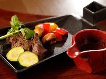 鹿肉のステーキ例