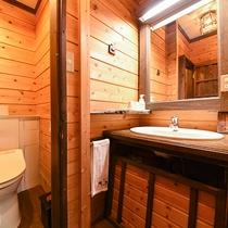 *【客室一例(1階しらかば)】シンプルな造りで、トイレはシャワー機能付です。
