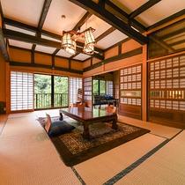*【客室一例(2階しゃくなげ)】広めのタイプのお部屋。お部屋は一部屋ごとに異なる造りとなっております