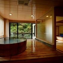 ■展望風呂付客室-温泉-■良質な自家源泉を誰にも邪魔されずゆっくりと…。美しい会津の四季を楽しみながら