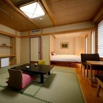 ■和洋室■ツインのベッドのある和洋室。1部屋限定。※ただし眺めは街側となります。