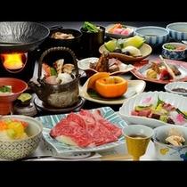 きのこの王様【松茸】や【柿】など秋の味覚たっぷり!盛り付けも『秋』をイメージしたお料理(一例)