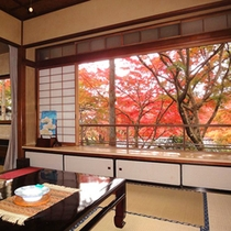 *【紅葉】本館「百合」秋の紅葉風景。ぼんやり眺めてなにもしないのも贅沢な時間です。