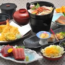 *三崎まぐろを使用した会席料理をお楽しみ下さい。(日帰りプラン昼食一例)