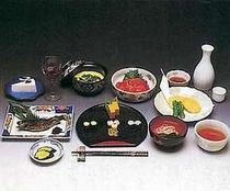 ご夕食一例:季節の恵みをふんだんに使った全て手作りの和食コース