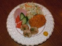 【朝食】日替わりメニュー和食・龍ヶ崎コロッケとシューマイ