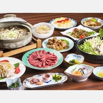 【夕食】選べるセットメニュー(すきやきorしゃぶしゃぶ)+ミニビュッフェ♪※すき焼き例