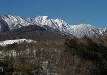 八ヶ岳ブルーに映える権現岳冬景色絶景