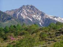 早春の赤岳と美し森の展望台への道