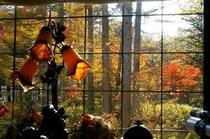 出窓からの紅葉
