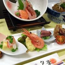 新鮮な海の幸(夕食一例)