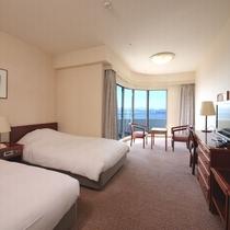 【コーナーツインルーム】(23平米)角部屋のお部屋で、眺望、喫煙・禁煙はホテルお任せとなります。