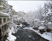 渓流野天風呂からの眺め(冬)