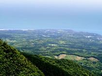 頂上から小瀬田集落の方(島の東北東)までを遠望。