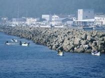 奥尻港外側で磯船漁の様子