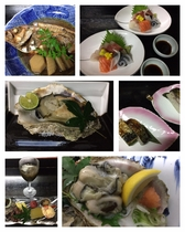 会席料理(岩ガキ生・岩がき焼き付)
