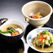 *夕食一例/初秋の料理三品。茄子の茗荷あんかけ、松茸の茶碗蒸し、白和え。