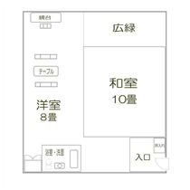 「山側最上階・和室」見取り図