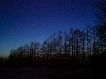 夕日が沈んでまもなく敷地内から見られるブルーモーメント