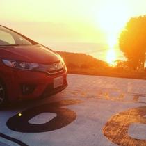 夕陽とお客様の愛車