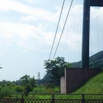 *【周辺】もみじ谷大吊橋は、無補剛桁吊橋歩道としては日本最長です。