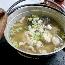 【たら汁】自家製の味噌で作るたら汁は、ふわふわのたらの身とシャキシャキの葱が相性ばつぐん!絶品です♪