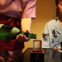 湯本舘名物『升酒』!名手かわちゃんに当たった人はラッキーですよ☆