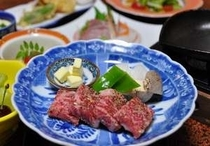 肉メイン:長門大津牛鉄板焼き