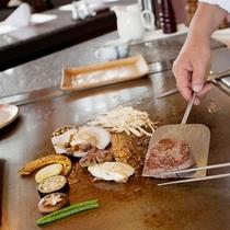 国産和牛&地取れ野菜の鉄板焼き