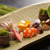 【ご夕食/前菜(一例)】季節ごとに変わる前菜