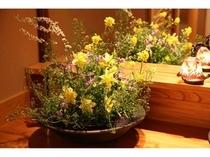 洗面台を彩る草花