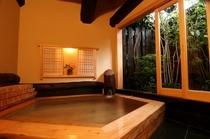 【貸切風呂】ヒノキの香り漂う純和風の貸切風呂/五岳の湯