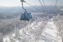 冬景色を行くゴンドラ