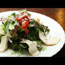 【サラダ】地元の食材を使った新鮮でヘルシーな蒸し鶏のサラダ。