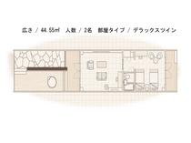 【火水風別館】デラックスツインルーム平面図