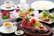 =選べるステーキ会席=写真のお肉はサーロインステーキ(約170g)です。