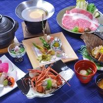 地元の新鮮な食材を使用した特選会席料理。