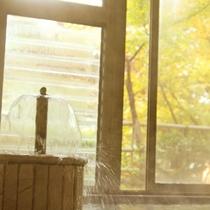 *箱根湯本の紅葉シーズンは毎年11月下旬から12月上旬。お風呂からも色づいた木々を臨めます。