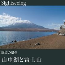 ▼山中湖と富士山