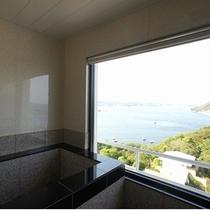 【特別室】最上階ビューバス付デラックスルーム浴室からの景色