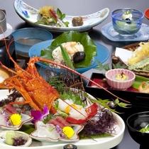 2016会席のお料理。イセエビや、青さ海苔など海の幸満載