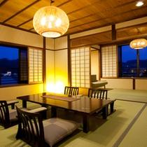 【三間続きの特別室ツイン】三間続きでゆとりのある、三世代やグループ旅行のお客様に人気のお部屋です。