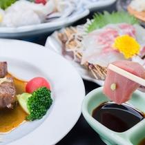 *お夕食一例/料理長が丹精を込めて創る島原の郷土料理をごゆっくりご賞味下さい。