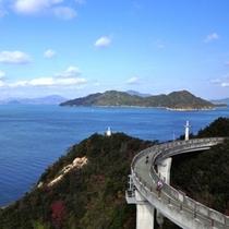 【しまなみ海道】しまなみ海道は本州と四国とを結ぶ唯一自転車や徒歩で渡れるルートです。